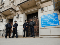 Synagogues NYPD officers stand guard at the door of the Union Temple of Brooklyn on November 2, 2018 in New York City. - New York police were investigating anti-Semitic graffiti found inside a Brooklyn synagogue that forced the cancellation of a political event less than a week after the worst …