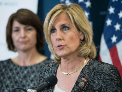 JULY 25: Rep. Claudia Tenney, R-N.Y., speaks during a news conference after a meeting of the House Republican conference in the Capitol on July 25, 2017. Cathy McMorris Rodgers, R-Wash., appears at left. (Photo By Tom Williams/CQ Roll Call)