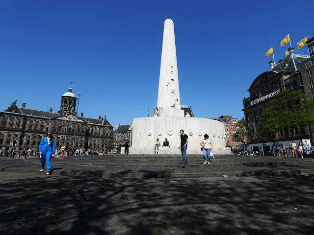 AMSTERDAM, NETHERLANDS - MAY 11: A general view of National Monument on May 11, 2016 in Amsterdam, Netherlands. The National Monument on Dam Square or Nationaal Monument op de Dam in Dutch, is a World War II monument. The national Remembrance of the Dead ceremony is held here every year …
