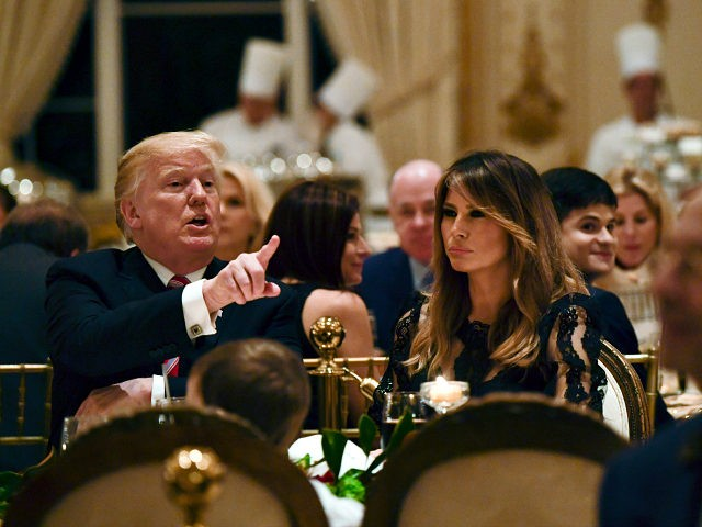 President Donald Trump and first lady Melania Trump have Thanksgiving Day dinner at their Mar-a-Lago estate in Palm Beach, Fla., Thursday, Nov. 22, 2018. (AP Photo/Susan Walsh)