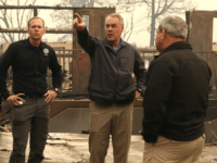 California Governor Jerry Brown and FEMA Adminstrator Brock Long and U.S. Secretary of the Interior Ryan Zinke tour a school burned by the Camp Fire on November 14, 2018 in Paradise, California. Fueled by high winds and low humidity, the Camp Fire ripped through the town of Paradise charring over …