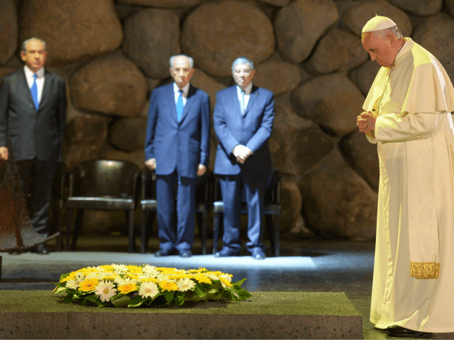 n this handout provided by the Israeli Government Press Office (GPO), Pope Francis visits the Yad Vashem Holocaust Museum with Israeli President Shimon Peres and Prime Ministrer Benjamin Netanyahu, on May 26, 2014 in Jerusalem, Israel. Pope Francis arrived in Israel on Sunday afternoon, a day after landing in the …