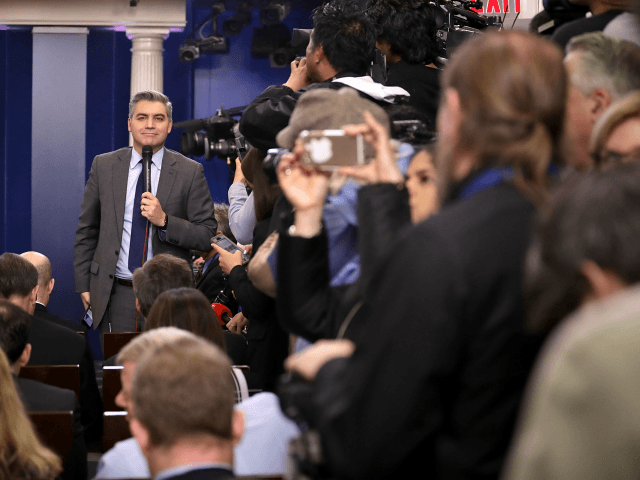 Jim Acosta reports ahead of White House Press Secretary Sean Spicer's daily press briefing in the James Brady Press Briefing Room at the White House January 23, 2017 in Washington, DC. Other than delivering a statement on Saturday critical of reporting about President Donald Trump's inauguration, this will be Spicer's …