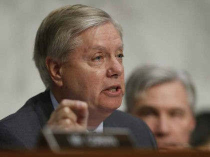 """Senate Judiciary subcommittee on Crime and Terrorism Chairman Sen. Lindsey Graham, R-S.C., questions former acting Attorney General Sally Yates, and former National Intelligence Director James Clapper, on Capitol Hill in Washington, Monday, May 8, 2017, during the subcommittee's on Crime and Terrorism hearing: """"Russian Interference in the 2016 United States …"""