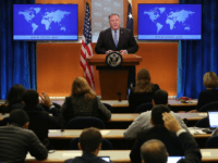 NOVEMBER 20: U.S. Secretary of State Mike Pompeo speaks to the media in the briefing room at the Department of State, on November 20, 2018 in Washington, DC. Pompeo met with Turkish Foreign Minister Meylut Cavusglu after President Trump released a statement signaling that the United States will stand by …
