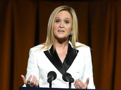 WASHINGTON, DC - APRIL 29: Host Samantha Bee speaks onstage during Full Frontal With Samantha Bee's Not The White House Correspondents' Dinner at DAR Constitution Hall on April 29, 2017 in Washington, DC. (Photo by Dimitrios Kambouris/Getty Images for TBS)