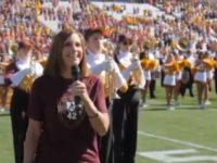 Republican Martha McSally sang the national anthem for Arizona State University's homecoming football game Saturday night, as she's locked in a tough run against the Democrat Kyrsten Sinema for the U.S. Senate.