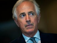 WASHINGTON, DC - OCTOBER 4: Sen. Bob Corker (R-TN) talks with reporters as he arrives at the Office of Senate Security, which houses a 'sensitive compartmented information facility,' or SCIF, where Senators are able to view the the FBI report about alleged sexual assaults by Supreme Court nominee Judge Brett …