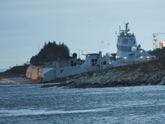 According to the Norwegian Coastal Administration, a 10-cubic metrehelicopter fuel tank on the frigate was ruptured