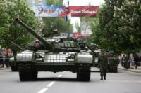 Militants of the self-proclaimed Donetsk People's Republic paraded tanks during Victory Day on May 9