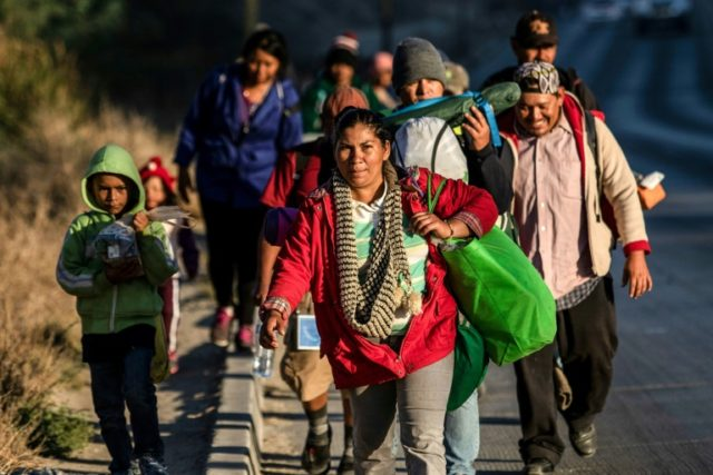 Central Americans traveling in a migrant caravan towards the United US, arrive in Tijuana, Mexico, on November 15, 2018