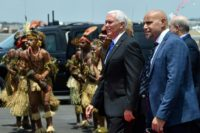 US Vice President Mike Pence watches a traditional performance after arriving in Papua New Guinea
