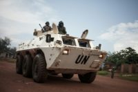 Tanzanian soldiers from the UN peacekeeping mission patrol a town threatened by the Siriri group of Fulani cattle herders