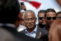 Ibrahim Mohamed Solih (C) emerged as the common opposition presidential candidate after strongman leader Abdulla Yameen jailed or forced into exile all key dissidents