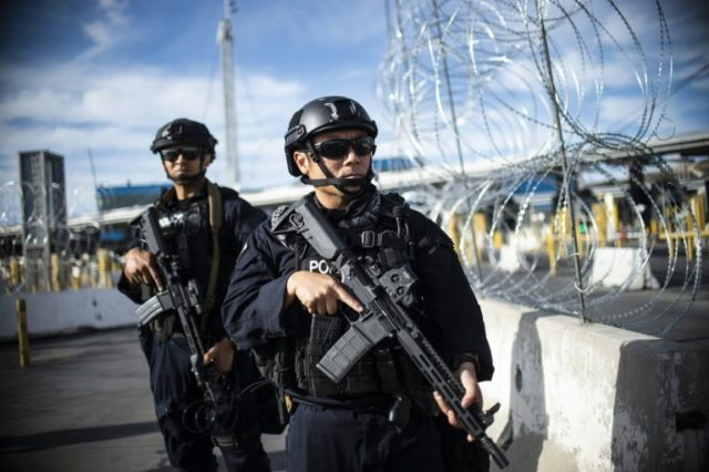 US Customs and Border Protection (CBP) agents took part in an operational readiness exercise at the San Ysidro port of entry in the US, as seen from Tijuana, Baja California State, Mexico, on November 22, 2018