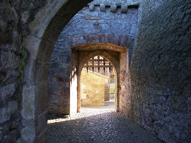A Castle's open portcullis