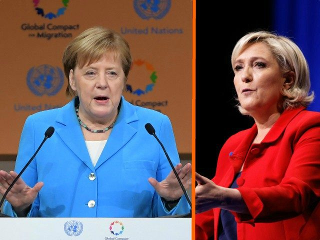 Angela Merkel and Marine Le Pen
