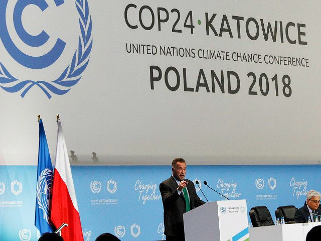 Actor Arnold Schwarzenegger delivers a speech during the opening of COP24 UN Climate Change Conference 2018 in Katowice, Poland, Monday, Dec. 3, 2018.(AP Photo/Czarek Sokolowski)