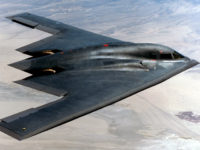 INFLIGHT - AUGUST 14: In this handout photo provided by the U.S. Air Force, the B-2 flies over Edwards Air Force Base August 14, 2003 over California. The B-2 Global Power Bomber Combined Test Force dropped two newly upgraded 5,000-pound GBU-28 bombs for the first time. (Photo by U.S. Air …