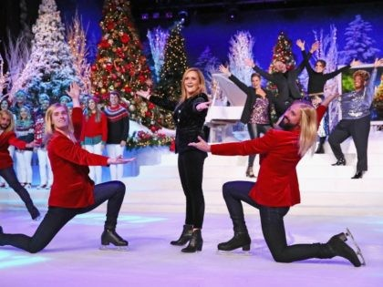 NEW YORK, NY - DECEMBER 17: Samantha Bee(center) and Abolish I.C.E Skaters perform during Full Frontal With Samantha Bee Presents Christmas On I.C.E. at PlayStation Theater on December 17, 2018 in New York City. 477176 (Photo by Astrid Stawiarz/Getty Images for TBS)