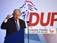 BELFAST, NORTHERN IRELAND - NOVEMBER 24: Conservative party MP Boris Johnson delivers his speech during the Democratic Unionist Party annual conference at the Crown Plaza Hotel on November 24, 2018 in Belfast, Northern Ireland. The DUP strongly oppose the propsed Brexit deal brokered between the UK government and the EU. …