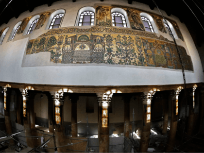 A picture taken on November 30, 2018, shows renovated mosaics and columns inside the Church of the Nativity in the occupied West Bank biblical city of Bethlehem. - The Italian government and the Palestinian Authority have been working in a joint effort to restore the Church of the Nativity since …