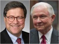 Combo photo of William Barr and Jeff Sessions, both smiling