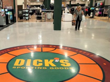 Shoppers walk inside a Dick's Sporting Goods store in Glendale, California, February 28, 2018. Dick's, one of the nation's largest sports retailers, said February 28 that it was immediately ending sales of all assault-style rifles in its stores. The retailer also said that it would no longer sell high-capacity magazines …