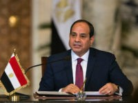 Egyptian President Abdel Fattah al-Sisi speaks on during a press conference with his Russian counterpart (unseen) following their talks at the presidential palace in the capital Cairo on December 11, 2017. Speaking on state television during a visit to Egypt, Putin stressed the importance of 'the immediate resumption of Palestinian-Israeli …