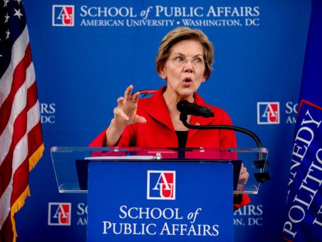 Sen. Elizabeth Warren, D-Mass., speaks at the American University Washington College of Law in Washington, Thursday, Nov. 29, 2018, on her foreign policy vision for the country. (AP Photo/Andrew Harnik)