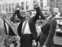 In this Nov. 3, 1980, file photo, former President Gerald Ford lends his support to Republican presidential candidate Ronald Reagan and his running mate, George H.W. Bush in Peoria, Ill. Bush has died at age 94. Family spokesman Jim McGrath says Bush died shortly after 10 p.m. Friday, Nov. 30, …