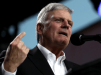 The Rev. Franklin Graham speaks May 29 at the Stanislaus County Fairgrounds in Turlock, California. (Justin Sullivan / Getty Images)