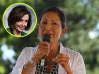 (INSET: Nancy Pelosi) Native American candidate Deb Haaland who is running for Congress in New Mexico's 1st congressional district seat for the upcoming mid-term elections, speaks in Albuquerque, New Mexico on October 1, 2018. - If Haaland is successful she will be the first Native American woman to hold a …