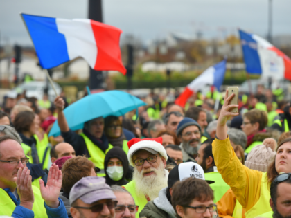 Yellow Vests (Gilets Jaunes in French) protesters demonstrate against rising oil prices and living costs in Bordeaux, southwestern France, on December 1, 2018. (Photo by NICOLAS TUCAT / AFP) (Photo credit should read NICOLAS TUCAT/AFP/Getty Images)