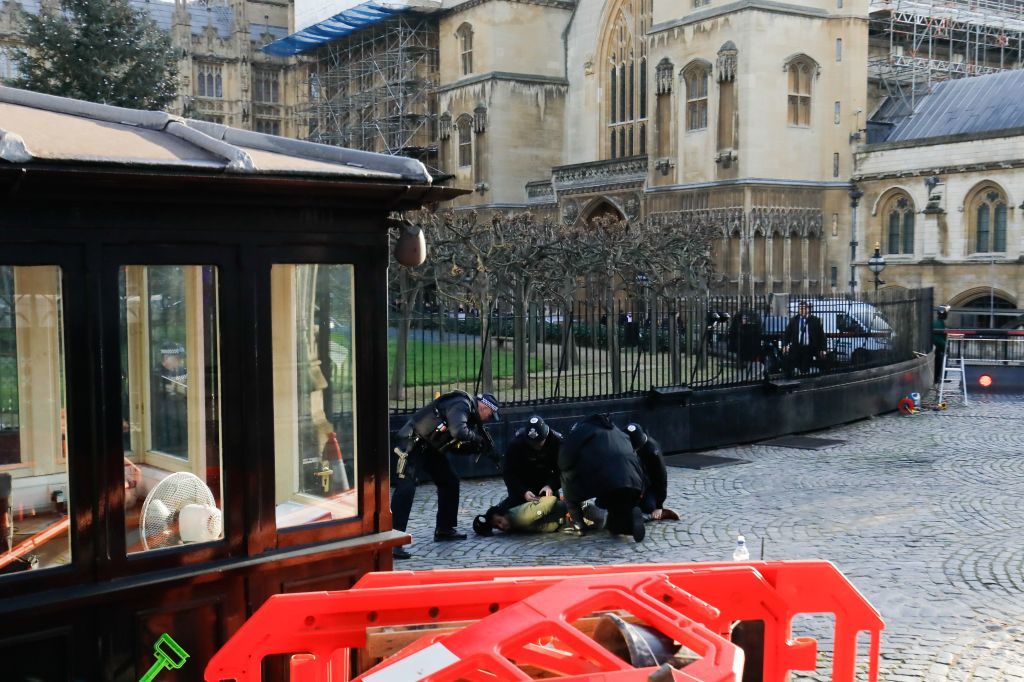 Police use Taser on suspect inside Carriage Gates at Parliament