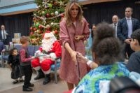US First Lady Melania Trump visits children at Children's National Hospital in Washington, DC, on December 13, 2018. (Photo by Jim WATSON / AFP) (Photo credit should read JIM WATSON/AFP/Getty Images)