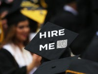 NEW YORK, NY - JUNE 03: A graduating student's cap declares their future intentions during commencement exercises at City College where First lady Michelle Obama delivered the commencement speech after being presented with an honorary doctorate of humane letters at City College on June 3, 2016 in New York City. …