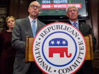 WASHINGTON, D.C. - NOVEMBER 09: NRCC Chairman Rep. Greg Walden (R-OR), left, and Sen. Roger Wicker (R-MS) speak during a press conference discussing the election of Donald Trump as U.S. President at the Republican National Committee Headquarters on November 9, 2016 in Washington, D.C. (Photo by Zach Gibson/Getty Images)