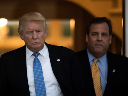 BEDMINSTER TOWNSHIP, NJ - NOVEMBER 20: (L to R) President-elect Donald Trump and New Jersey governor Chris Christie emerge from the clubhouse following their meeting at Trump International Golf Club, November 20, 2016 in Bedminster Township, New Jersey. Trump and his transition team are in the process of filling cabinet …