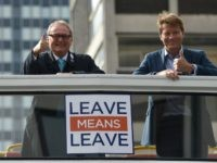 Leave Means Leave campaign co-chairs John Longworth (L) and Richard Tice gesture aboard The Leave Means Leave battle bus at an event on the sidelines of the Conservative Party Conference 2018, in Birmingham on October 1, 2018. (Photo by Oli SCARFF / AFP) (Photo credit should read OLI SCARFF/AFP/Getty Images)