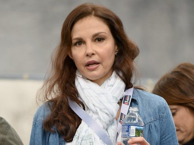 WASHINGTON, DC - JANUARY 21: Ashley Judd appears onstage during the Women's March on Washington on January 21, 2017 in Washington, DC. (Photo by Theo Wargo/Getty Images)