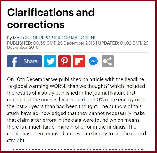 Daily Mail correction