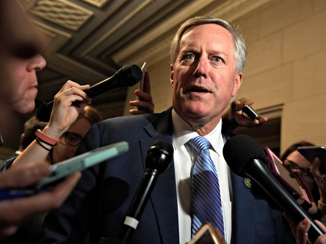 Rep. Mark Meadows, R-N.C., talks with reporters following a meeting on Capitol Hill in Washington, Wednesday, Nov. 14, 2018, for the House Republican leadership elections.