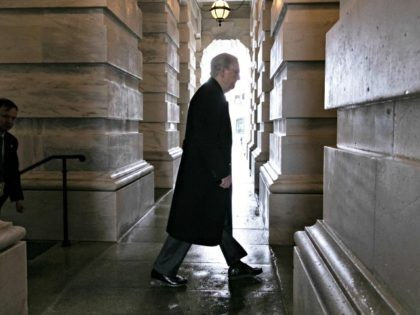 Senate Majority Leader Mitch McConnell, R-Ky., arrives at the Capitol as work continues to meet a Friday night deadline to avoid a partial government shutdown as President Donald Trump demands money for a wall along the U.S.-Mexico border, in Washington, Friday, Dec. 21, 2018. Trump is imploring McConnell to change …