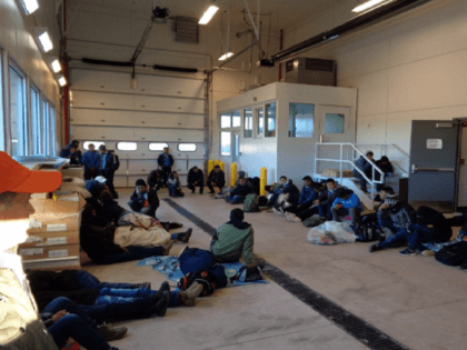 Photo of Migrants being detained at Antelope Wells Forward Operating Base, New Mexico. (Photo: U.S. Customs and Border Protection)