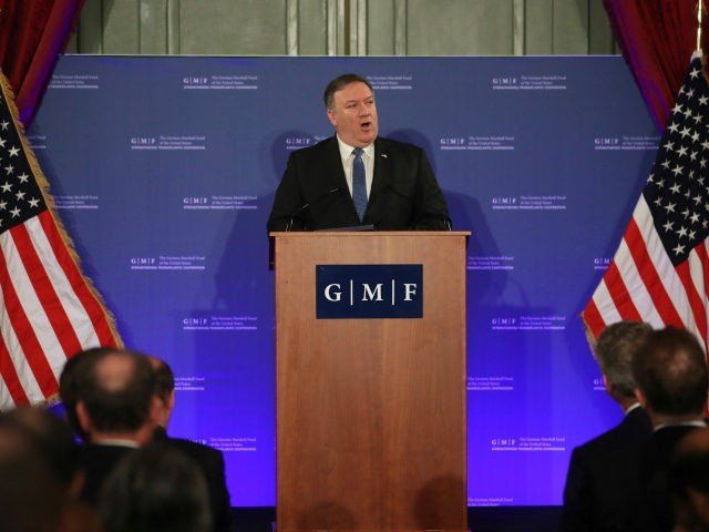 U.S. Secretary of State Mike Pompeo speaks during an event at the Concert Noble in Brussels, Tuesday, Dec. 4, 2018. U.S. Secretary of State Mike Pompeo is in Brussels to attend a two-day meeting of NATO foreign ministers. (AP Photo/Francisco Seco, Pool)