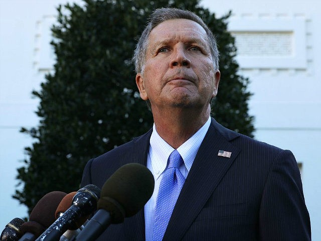 WASHINGTON, DC - NOVEMBER 10: Ohio Governor John Kasich speaks to members of the media outside the West Wing November 10, 2016 at the White House in Washington, DC. President Obama hosted the Cavaliers to honor their 2016 NBA championship. (Photo by Alex Wong/Getty Images)