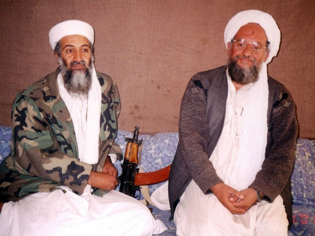 397285 02: UNDATED PHOTO Osama bin Laden (L) sits with his adviser Ayman al-Zawahiri, an Egyptian linked to the al Qaeda network, during an interview with Pakistani journalist Hamid Mir (not pictured) at an undisclosed location in Afghanistan. In the article, which was published November 10, 2001 in Karachi, bin Laden said he had nuclear and chemical weapons and might use them in response to U.S. attacks. (Photo by Visual News/Getty Images)