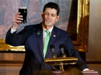 United States Speaker of the House of Representatives Paul Ryan, Republican of Wisconsin, holds up a pint of Guinness as he proposes a toast during the Friends of Ireland luncheon at the United States Capitol March 15, 2018 in Washington, DC. . The Taoiseach is visiting as part of the …