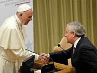 Pope Francis shakes hands with European Parliament President Antonio Tajani during a conference of EU politicians on Re-thinking Europe, at the Vatican, Saturday, Oct. 28, 2017. Addressing European political and church leaders at a moment of broad political crises, Pope Francis said Christians can play a role in shaping Europe's …